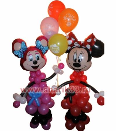 """Микки-маусы с шариками """"С Днем Рождения"""" (5 шт)"""