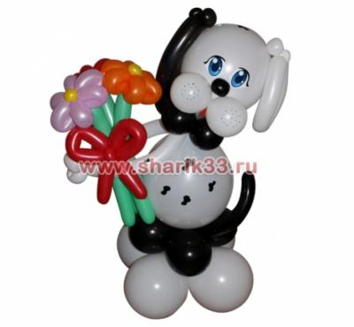 Пятнистая собака с букетом