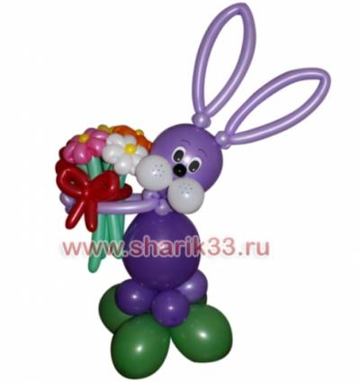 Сиреневый зайчик с цветами