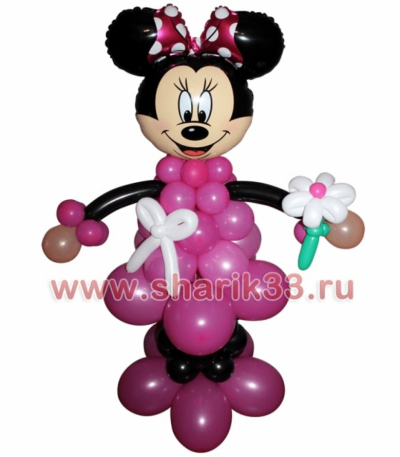 Розовая минни с ромашкой