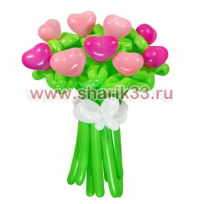 Букетик из 11 розовых сердец