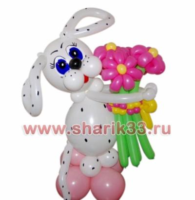 Далматинец с букетом 5 цветков