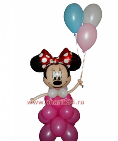 Розовый Микки с шариками (3 шт)