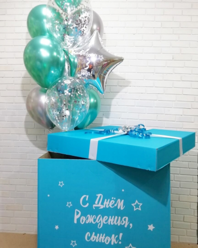 Бирюзовая коробка с шарами