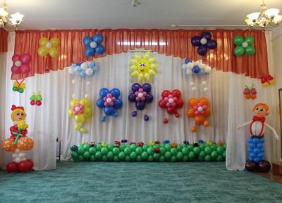 Оформление выпускного шарами в детском саду №104