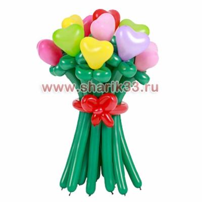 Букет из шаров 15 разноцветных сердечек