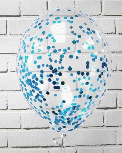 Гелиевые шары с голубым конфетти