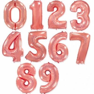 Большие шары цифры (Розовое золото)
